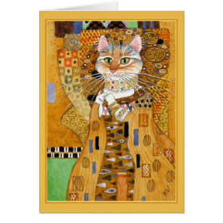 Le chat mignon de Gustav Klimt charrient la carte