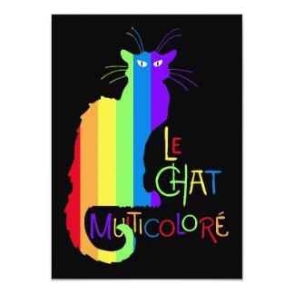 Le Chat Multicoloré Carton D'invitation 11,43 Cm X 15,87 Cm