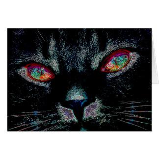 Le chat noir de Halloween avec le feu observe la Cartes De Vœux
