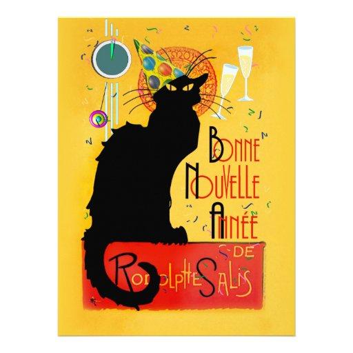 Le Chat Noir - nouvelle Année de Bonne Invitations