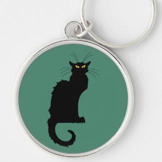 Le Chat Noir Porte-clé Rond Argenté