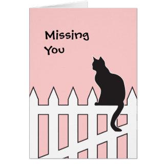 Le chat noir vous manquant veuillez venir à la mai cartes de vœux