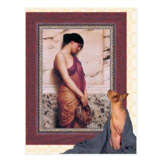 le chat regarde la peinture de Godward Cartes Postales