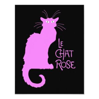 Le Chat Rose Carton D'invitation 10,79 Cm X 13,97 Cm