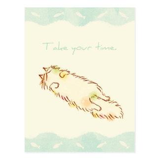 Le chat somnolent pelucheux prennent votre temps carte postale