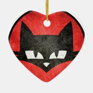 Le chat te regarde.PNG Ornement Cœur En Céramique