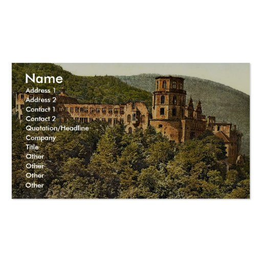 Le château, vu de la terrasse, Heidelberg, mauvais Modèle De Carte De Visite