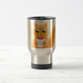 Le chaton mignon peint à la main avec du café mug de voyage