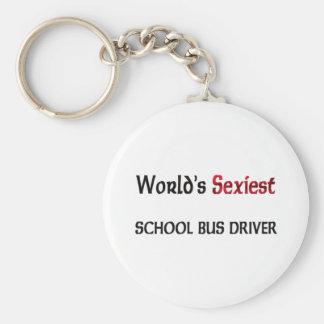 Le chauffeur d'autobus scolaire le plus sexy du porte-clé rond