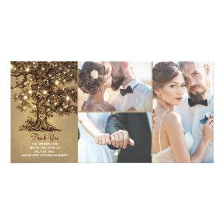 Le chêne rustique allume le Merci de mariage Carte
