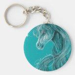 Le cheval Arabe songeur Porte-clé Rond