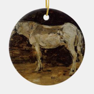 Le cheval blanc par Eugene Boudin Ornement Rond En Céramique
