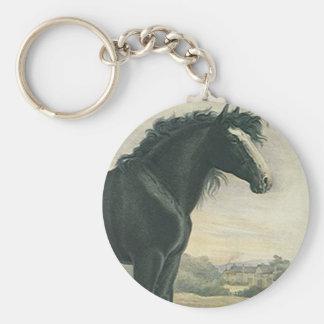 Le cheval de trait noir de Shire d'art antique de Porte-clés