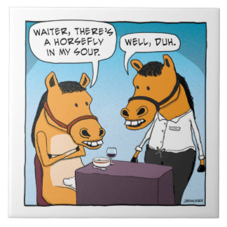 Le cheval drôle se plaint au sujet du taon en carreau