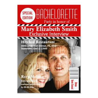 Le chevron noir blanc rouge de magazine carton d'invitation  12,7 cm x 17,78 cm