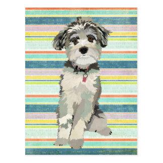 Le chien bleu barre la carte postale