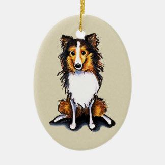 Le chien de berger de Sheltie Shetland de sable se Ornement Ovale En Céramique