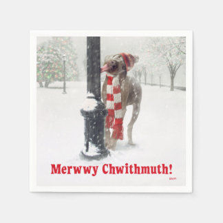 Le chien drôle de Noël lèche Polonais Serviette Jetable