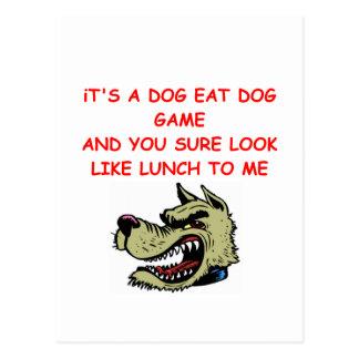 le chien mangent le monde de chien carte postale
