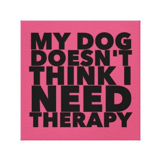 Le chien n'indique aucune thérapie étirée toile tendue