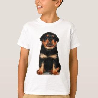 Le chiot de rottweiler badine le T-shirt