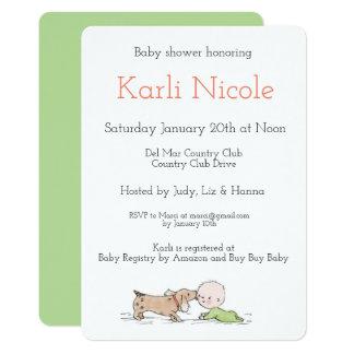 Le chiot embrasse des invitations de baby shower