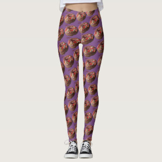 Le chocolat de pantalon de yoga arrosent le motif leggings
