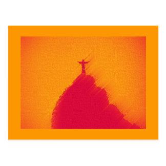 Le Christ coloré chaud orange, Rio de Janeiro Carte Postale