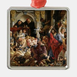 Le Christ conduisant les négociants par le temple Ornement Carré Argenté