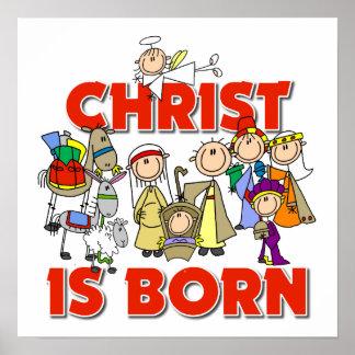 Le Christ est cadeau chrétien né de Noël de nativi Affiches