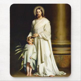 Le Christ et enfant. Cadeau Mousepads de Pâques de Tapis De Souris