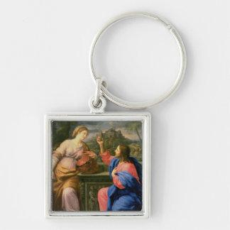 Le Christ et la femme de Samaria Porte-clé Carré Argenté
