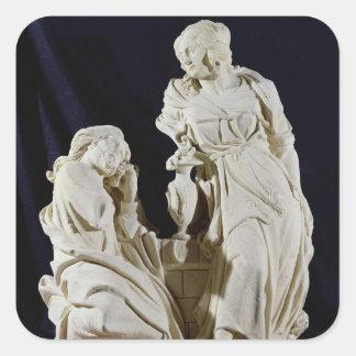 Le Christ et la femme de Samaria Sticker Carré