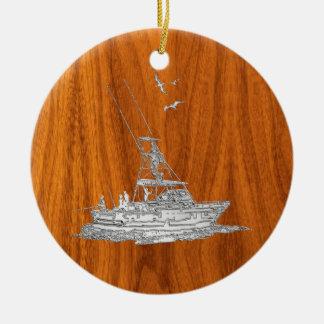Le chrome aiment le bateau de pêche sur le bois de ornement rond en céramique