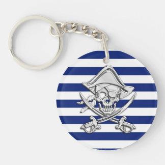 Le chrome aiment le pirate sur des rayures de porte-clé rond en acrylique double face