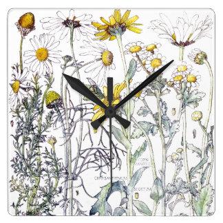 Le chrysanthème botanique fleurit l'horloge murale horloge carrée
