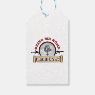 le ciel de prairie m'amènent à la maison étiquettes-cadeau