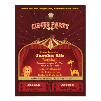 Le cirque de l'enfant mignon étiquette la fête carton d'invitation 10,79 cm x 13,97 cm