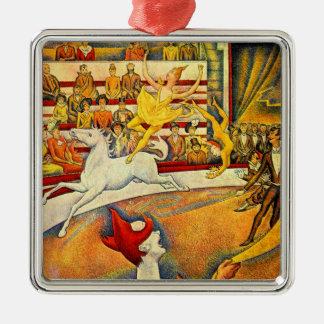 Le cirque par Georges Seurat, Pointillism vintage Ornement Carré Argenté