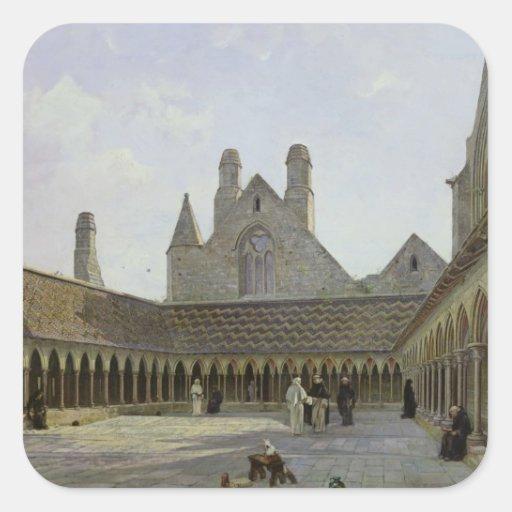 Le cloître du Saint-Michel de Mont Sticker Carré