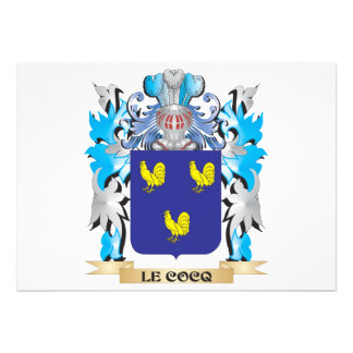 Le-Cocq Coat of Arms - Family Crest Personalized Invitations