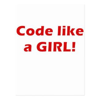 Le code aiment une fille carte postale