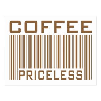 Le code barres inestimable de café pique des carte postale