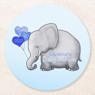 Le coeur bleu mignon monte en ballon la douche de dessous-de-verre rond en papier