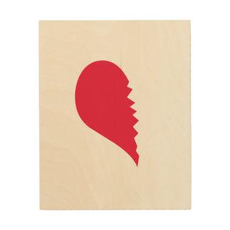 Le coeur brisé impression sur bois