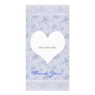 Le coeur de Merci fleurit le modèle de carte photo Photocarte
