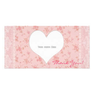 Le coeur de Merci fleurit le modèle de carte photo Photocarte Customisée