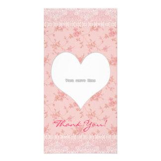 Le coeur de Merci fleurit le modèle de carte photo Photocarte Personnalisée