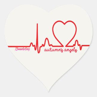 Le coeur de soutien des anges de l'automne publie sticker cœur