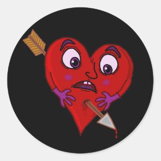 Le coeur drôle de Valentine avec la flèche Sticker Rond